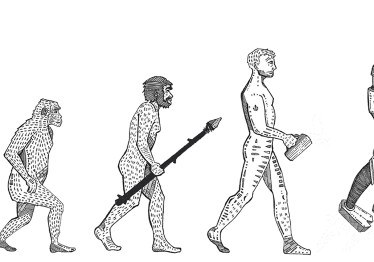 illustration of a monkey becoming a man through the stages of evolution