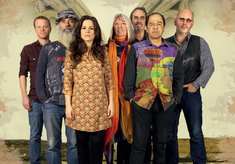 A group photo of Steeleye Span looking at the camera