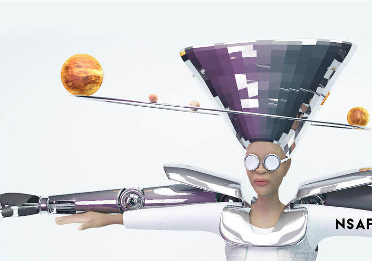 An image of a female wearing sunglasses, her robotic arms stretched out either side of her and planets revolving around her headpiece