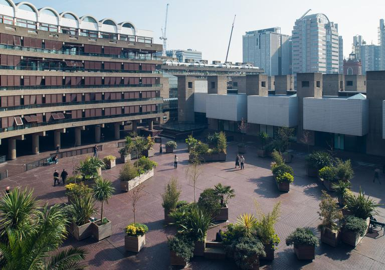 A photo of the Sculpture Court on Level 3 of the Barbican, Barbican Art Gallery and Frobisher Crescent