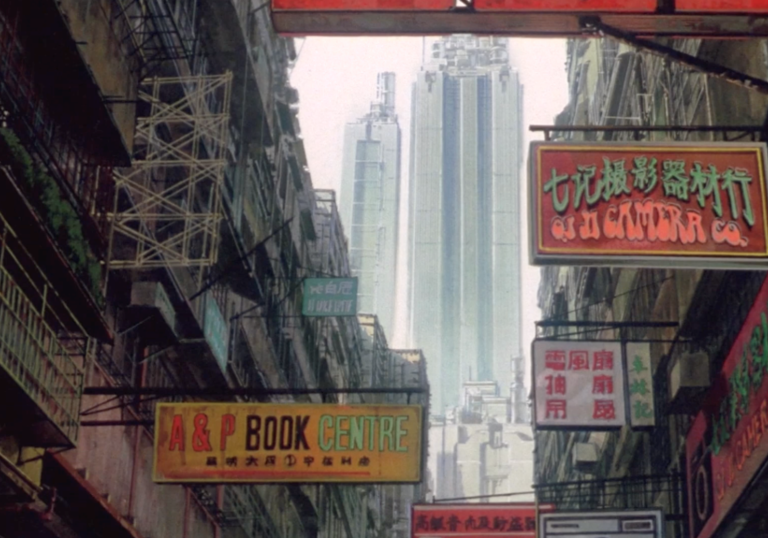 anime of cityscape containing shop signs in chinese characters