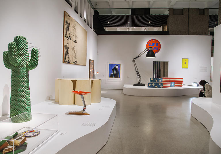 Installation shot of Pop Art Design with a bright green cactus