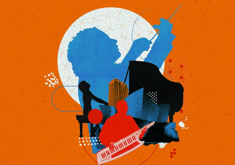 Illustration of Gustavo Dudamel, Yuja Wang and Herbie Hancock in front of the Barbican and Walt Disney Concert Hall