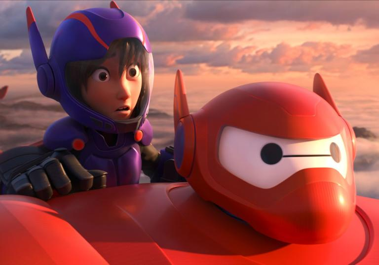 kid on the back of Big Hero 6 both dressed up in armour