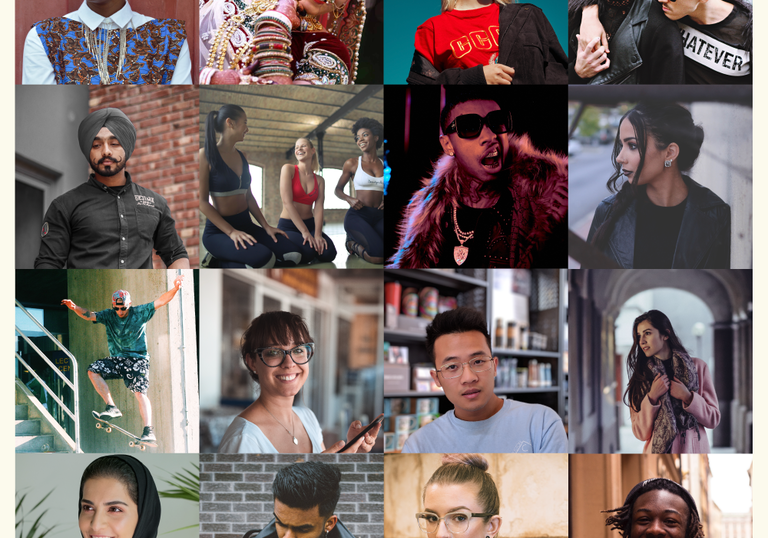 A grid image of a diverse group of people enjoying themselves