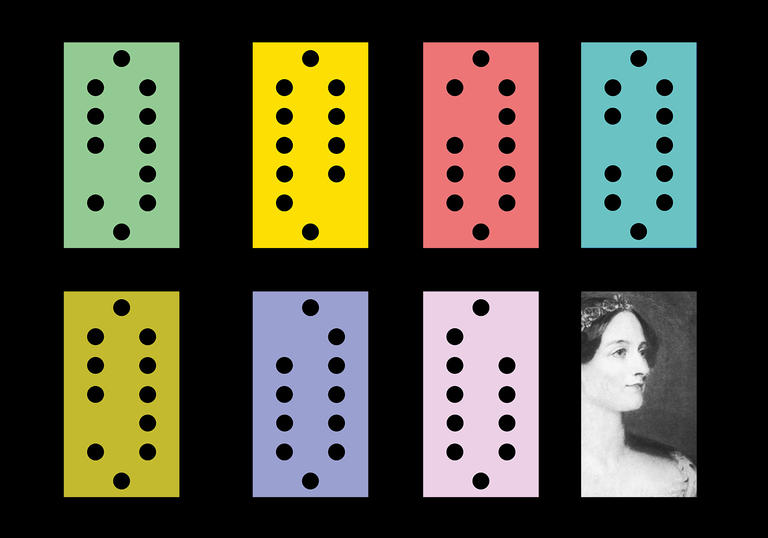 Illustration of punch cards for Ada Lovelace's computer programme and a portrait of Lovelace