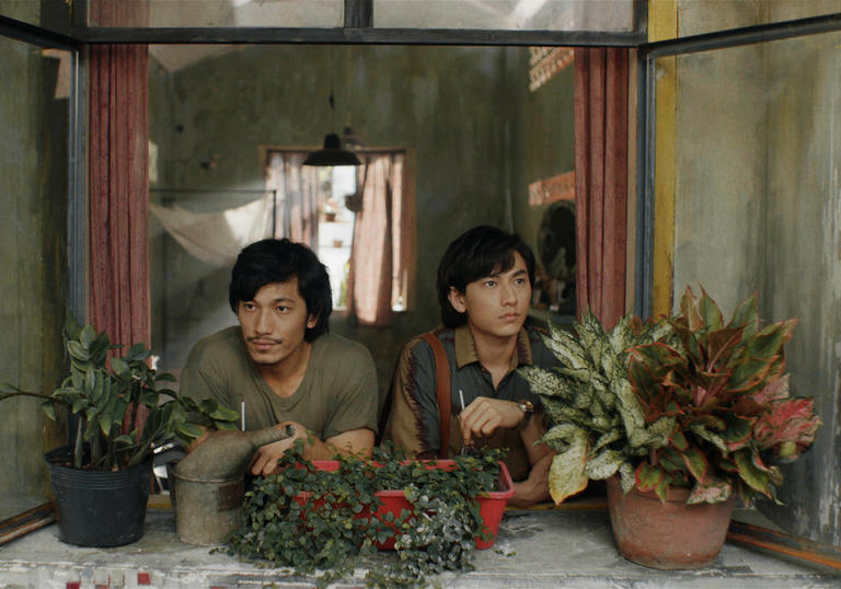 two young men looking out surrounded by plants