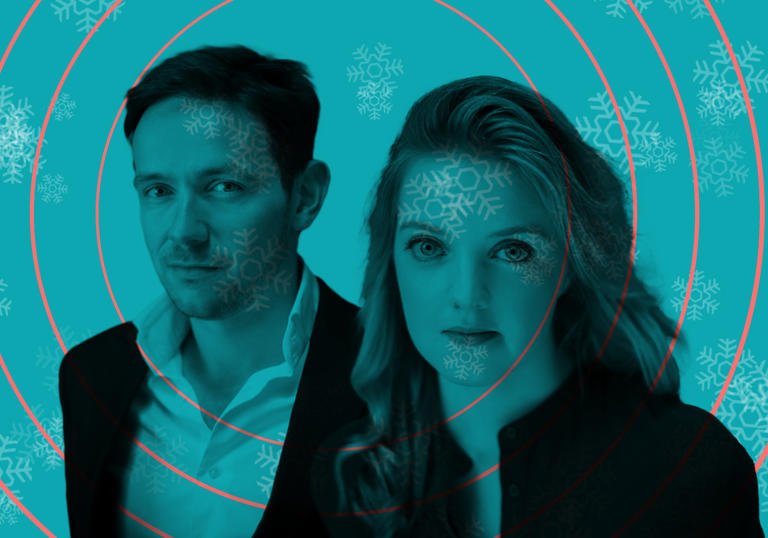 Iestyn Davies and Rowan Pierce on background of snowflakes and sonar waves