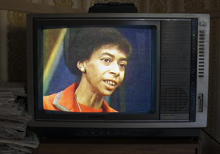 an image of marion stokes on an old fashioned TV