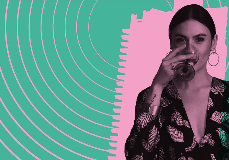 photo of nadine shah drinking from a glass, overlaid with pink and green graphics