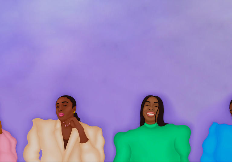An illustration of four Black women, the person on the left is wearing a pink suit jacket, the person on the left in the middle has a cream blazer on, the person in the middle right has a green jumper on and the person on the right hand side has a blue jumper on