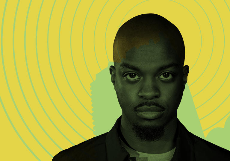 Image of George the Poet set against a yellow background