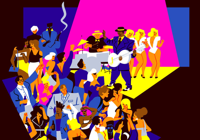 A party scene depicting Kid Creole and more figures from the time