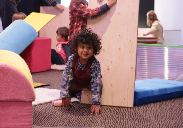 Photo of young child playing in a soft playground Barbican Blocks