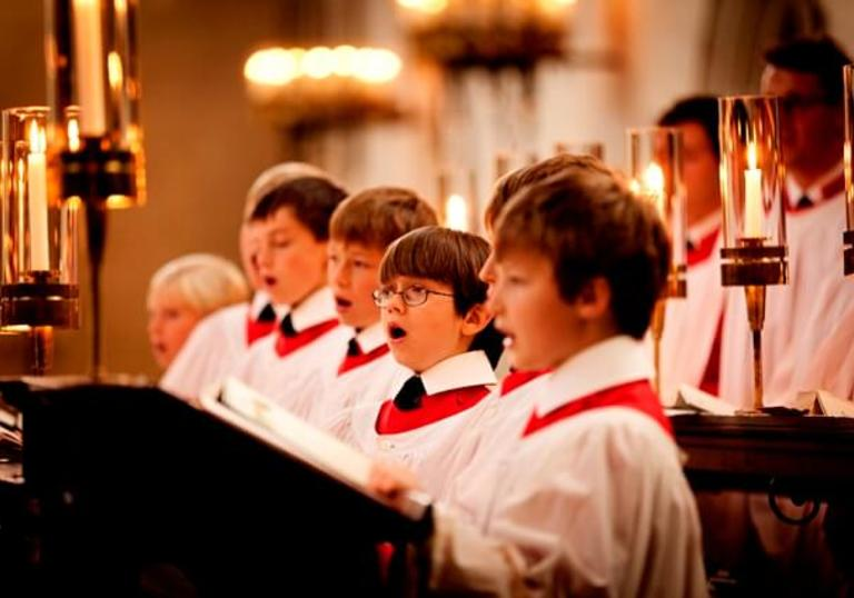 A picture of King's College Choir performing