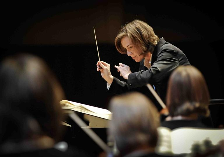 A picture of Laurence Equilbey conducting