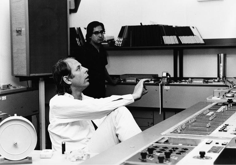 Picture of Karlheinz Stockhausen at the Studio for Electronic Music of the WDR