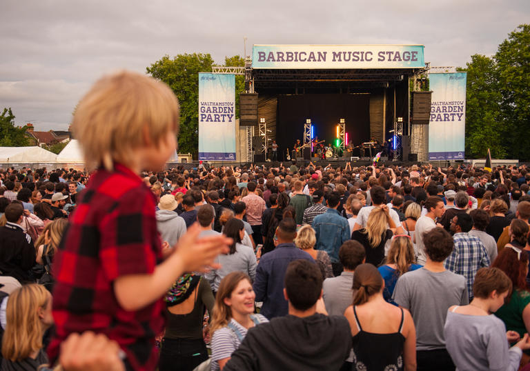 Photo of crowd of people watching a gig at Walthamstow Garden Party
