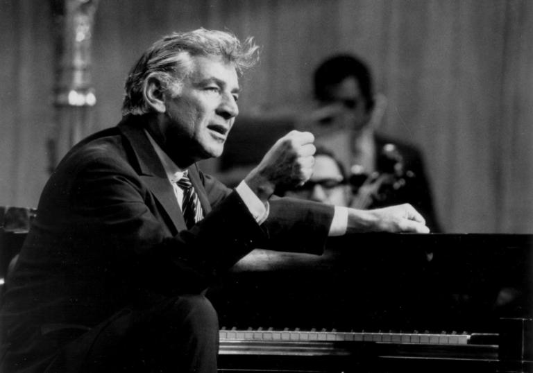 A black and white picture of Leonard Bernstein