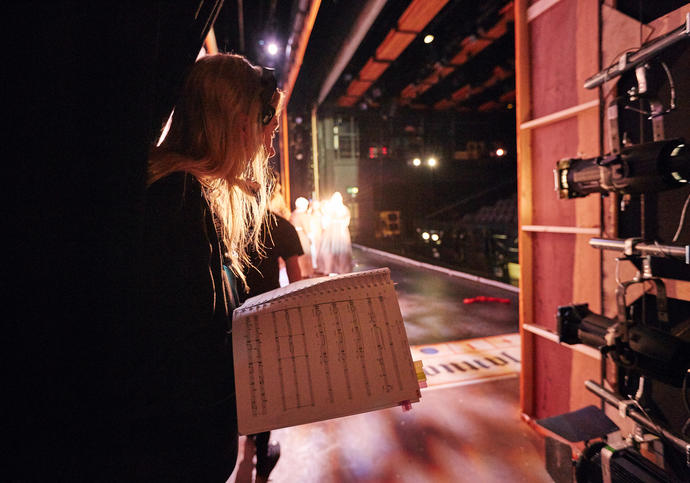 Photo of backstage at the Guildhall School theatre