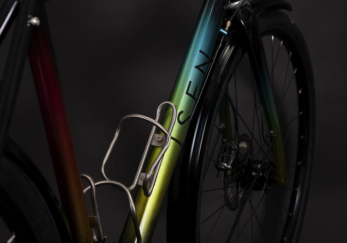 Close-up shot of bike frame by Isen Frameworks bike-builders