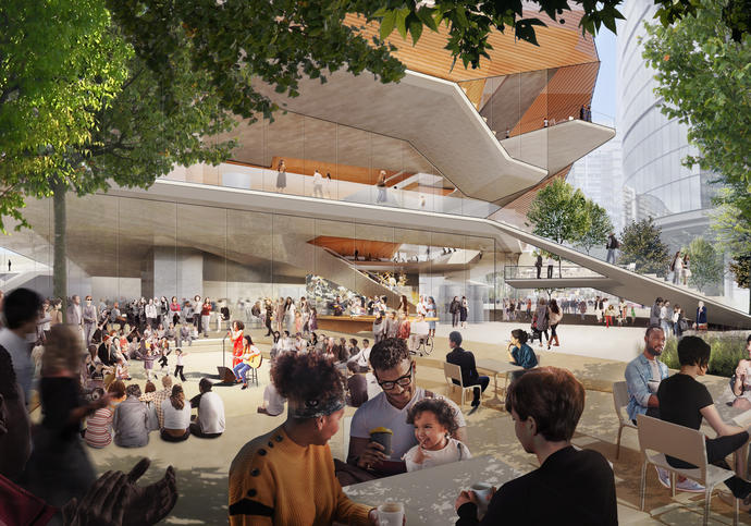 architecture render of the centre for music