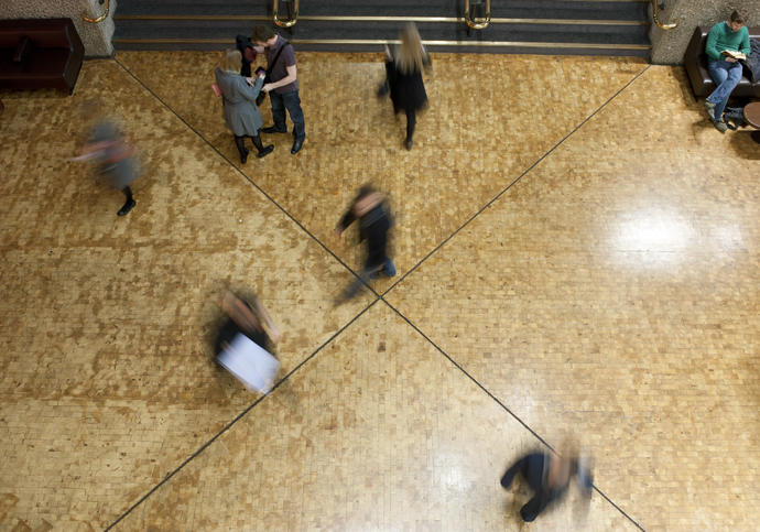 Photo of visitors in the Barbican Foyers from above