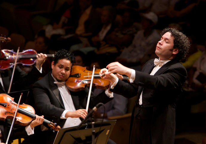 Photo of Gustavo Dudamel conducting
