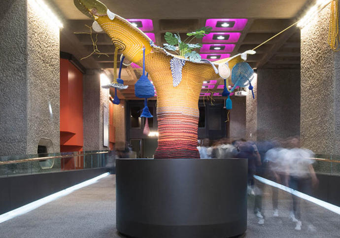 a photo of an art installation at the barbican centre in london called cosmic teta