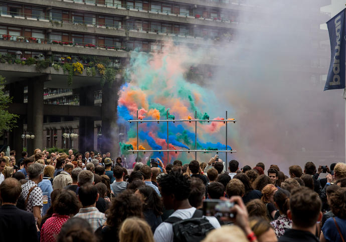 Photo of Station to Station smoke installation on the Barbican Lakeside