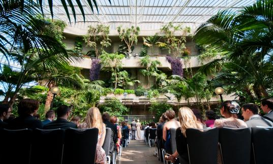 A photo of a wedding ceremony in the Barbican Conservatory