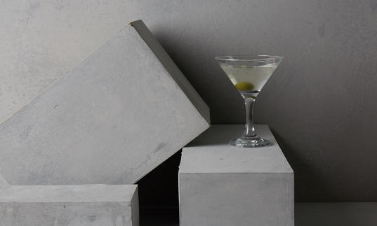 Martini, olive, cool, cocktail, martini bar, barbican, concrete, brutalist