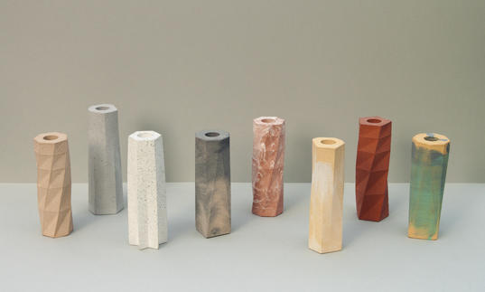 Phil Cuttance casting workshops showing jesmonite vases