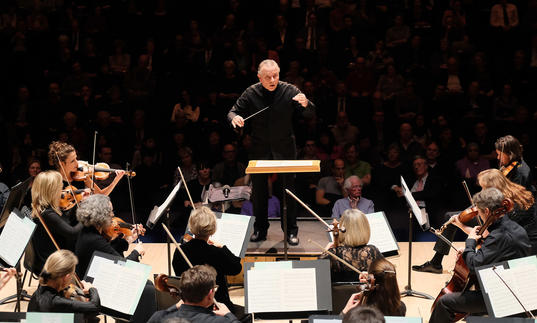 Mark Elder conducting on stage 2017