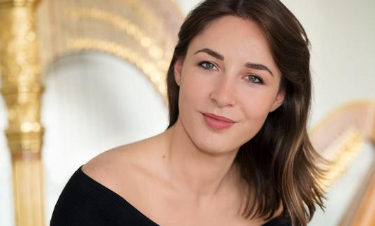Photo of harpist Anais Gaudemard
