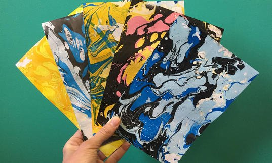 Image of paper marbling workshop