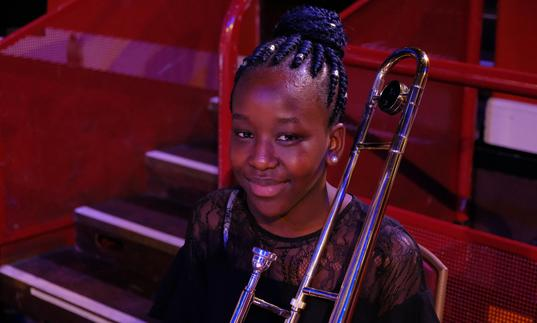 young musician with a trombone