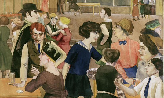 Rudolf Schlichter Damenkneipe (Women's Club), c. 1925 Watercolor and India ink over pencil on paper.