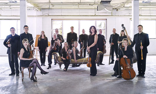 Tafelmusik ensemble in warehouse