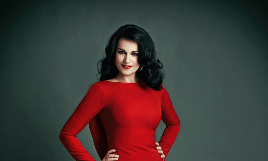 Angela Gheorghiu red dress portrait