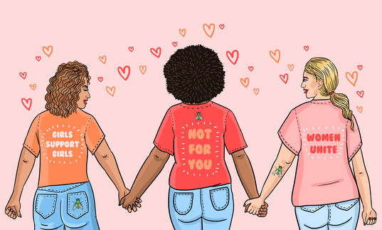 An illustration of three diverse women holding hands