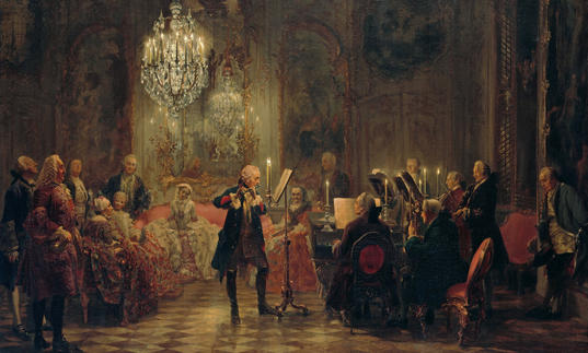 Painting by Adolph Menzel of a flute concert for Frederick the Great