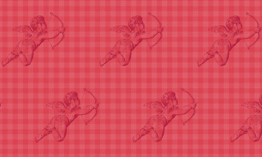 Cupids with gingham background