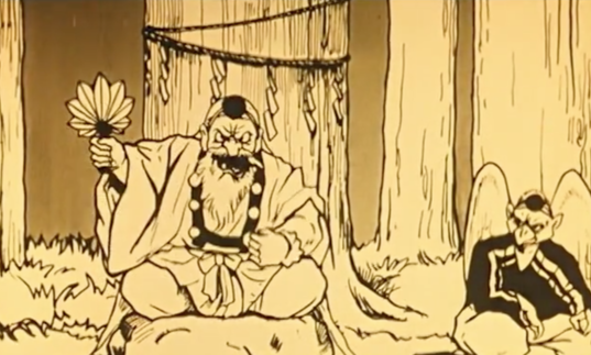 An angry man and a tengu in an early Japanese animation.