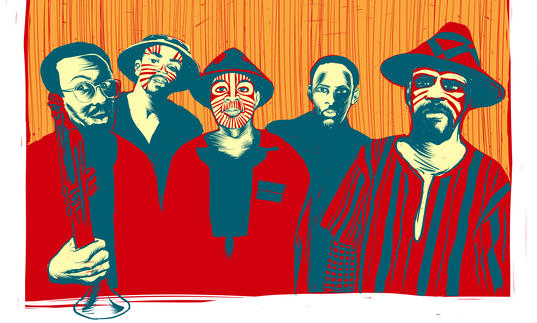 An illustration of Art Ensemble of Chicago wearing facepaint and traditional masks.