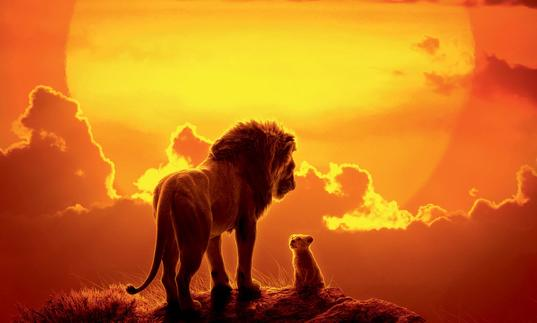 simba and mufasa in front of the sunset