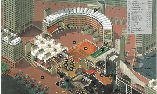 A 1982 colour map of the Barbican Centre and the estate, from a bird's eye point of view