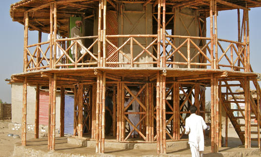A wooden built structure by architect Yasmeen Lari; an example of barefoot architecture