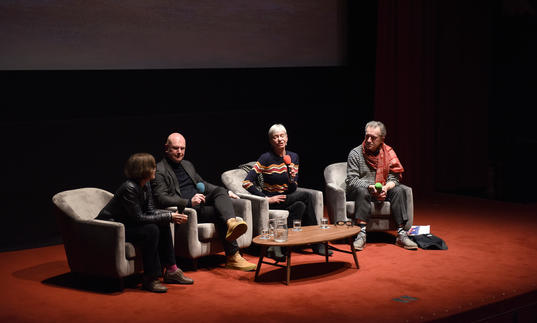 panellists from the Cunningham ScreenTalk – Alla Kovgan, Philip Selway, Siobhan Davies and Alastair Macaulay