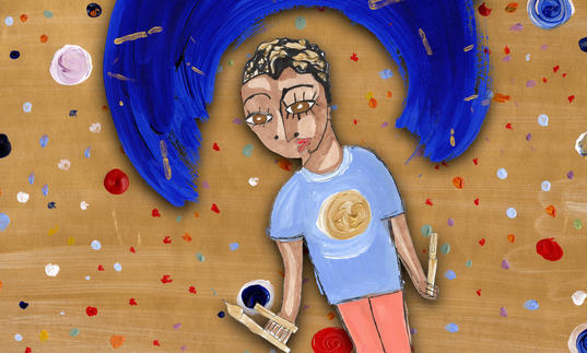 An illustration of a young person holding paint brushes and pens. A sweep of blue paint creates a rainbow over their head.